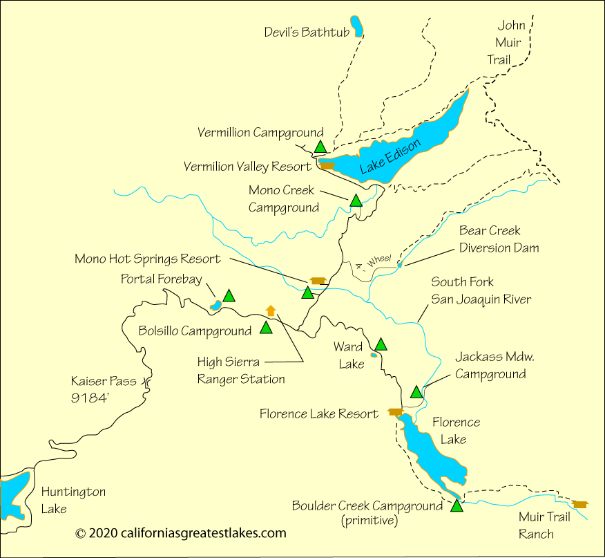 Lake Edison And Florence Lake Area Map