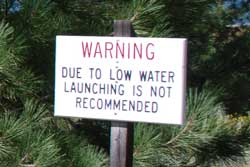 Photo of sign at Aspen Grove launch ramp