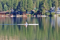Photo of rower at Donner Lake, CA